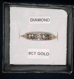 "9ct Yellow Gold Diamond ""I Love You"" Ring Sz N 375 9 carat XMAS"