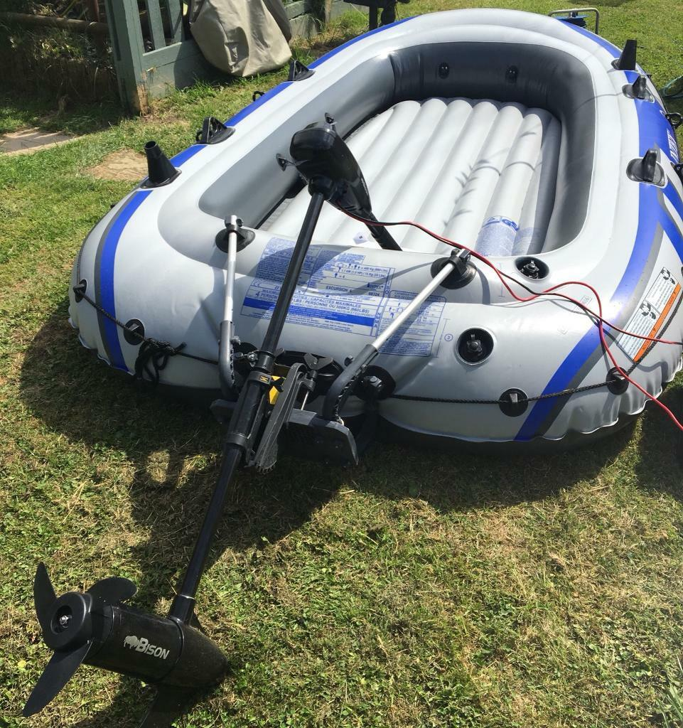 Intex Excursion 4 Dingy Boat with outboard battery powered Bison 62  motor&extras | in Framlingham, Suffolk | Gumtree