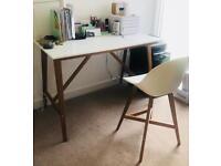 Scandanavian Ikea Desk / Bar Table and Stool FANBYN