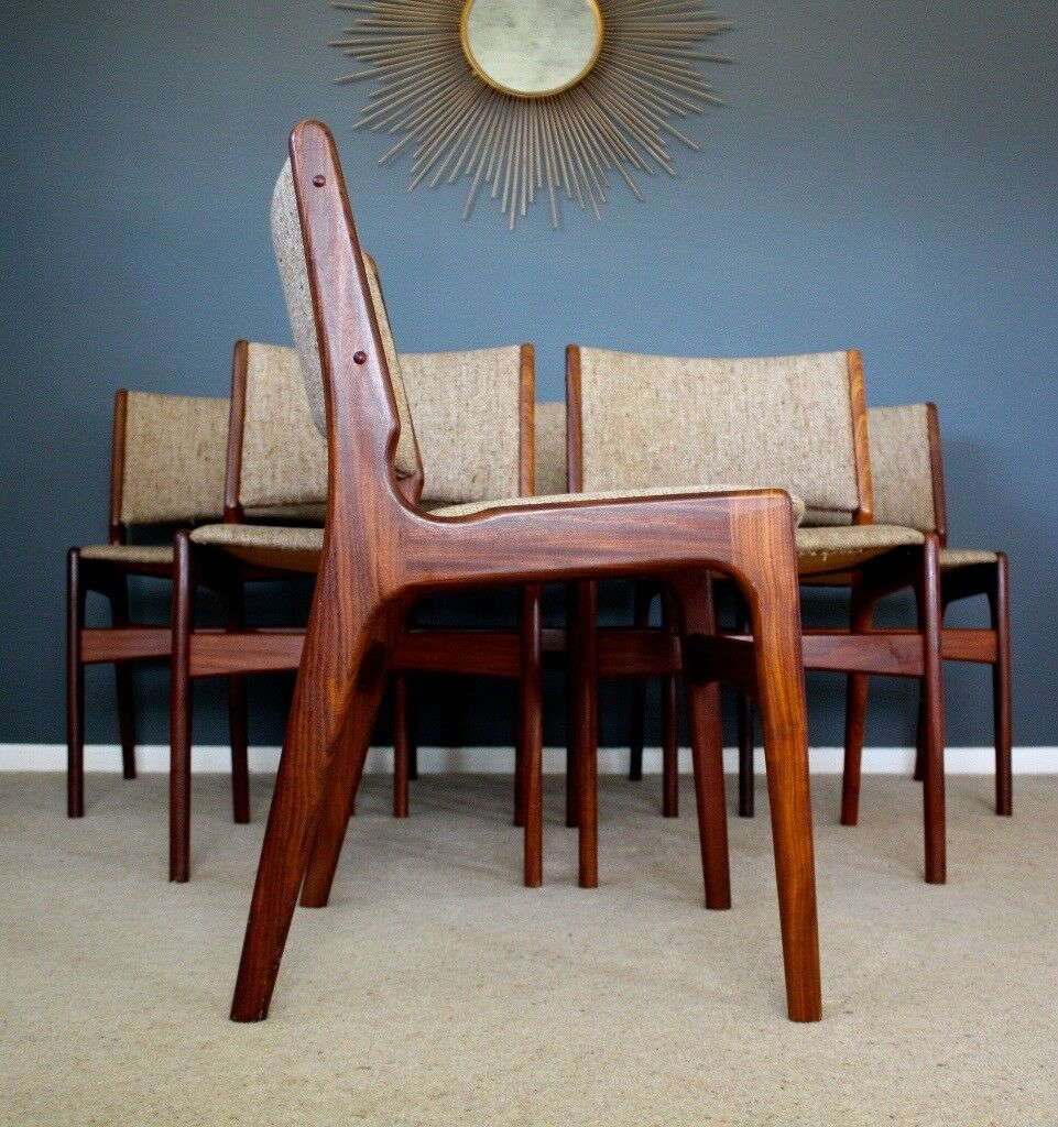 6 Danish Anderstrup Teak Dining Chairs Mid Century Retro ...