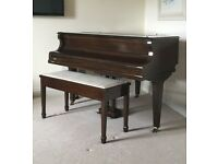 Kirkman baby grand piano and stool
