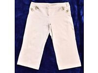 "E-Vie 18 Ladies or Men's Cream Cropped 3 Quarter Length Trousers W39"" & L22"""