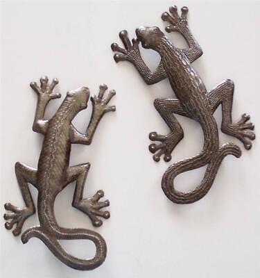 Haitian Recycled Metal Steel Drum Wall Art Leaping Lizard Gecko Set 105SM390 Recycled Steel Drum