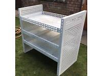 White solid metal van racking