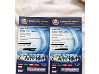 INDIA SRI LANKA ICC CHAMPIONS TROPHY 4 silver tickets, 8 June