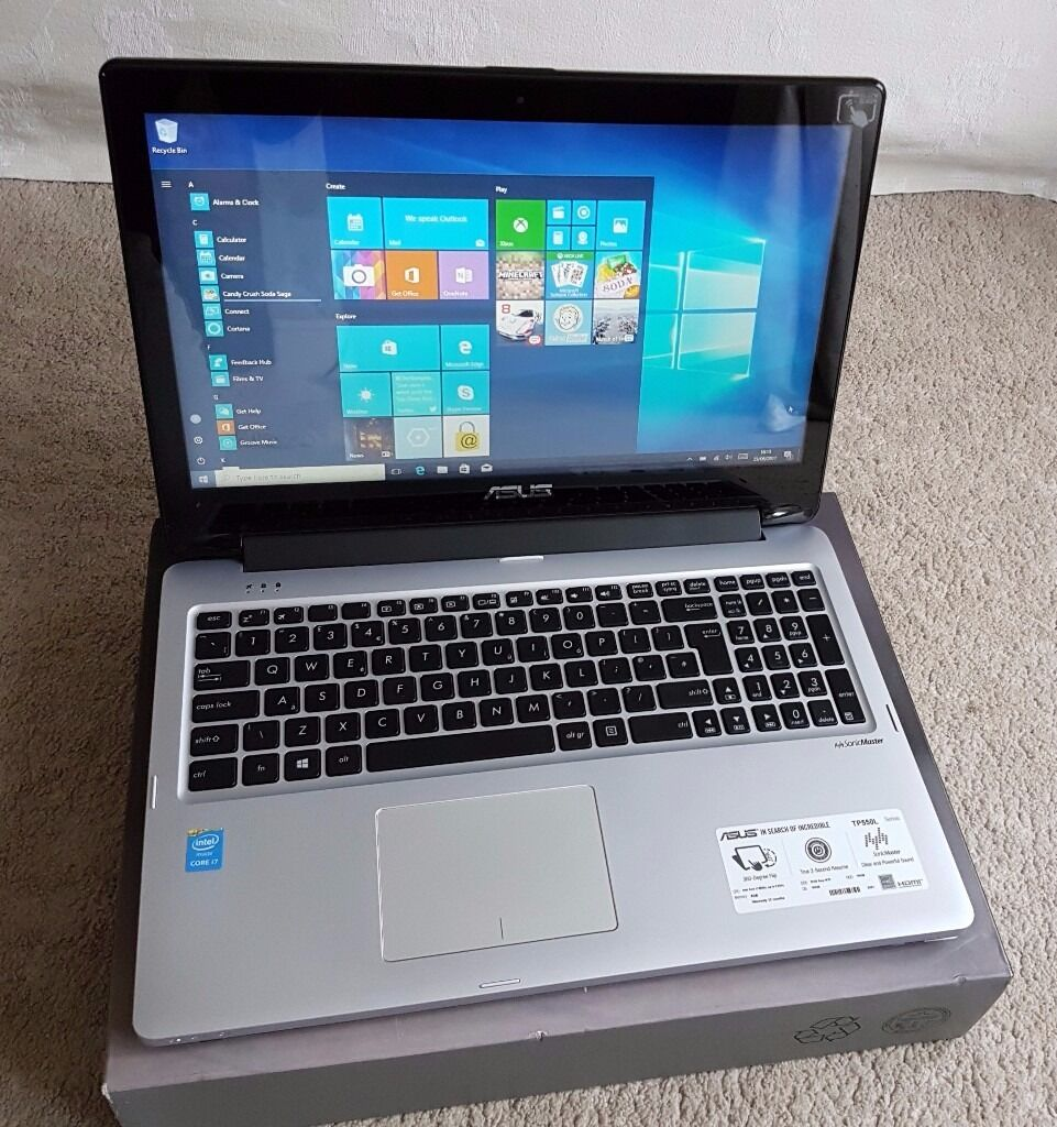 """Asus PT550L Touchscreen Laptop, 15.6"""" Display Core i7 2.4GHz, 8GB RAM, 400GB SSD450 onoin Ipswich, SuffolkGumtree - ASUS TP550L Touchscreen laptop in MINT condition. I have used it only a few times. You can flip the screen 360 degree. The laptop is very fast and boots in a few seconds. More details about the laptop Brand ASUS intel core i7 2.4GHz CPU quad core 8GB..."""