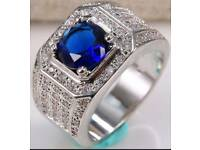 Men's vintage ring sapphire blue gemstone sterling silver ring