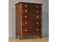 Attractive Large Antique Edwardian Mahogany Chest Of Five Graduated Drawers