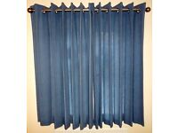 BLUE EYELET CURTAINS, AS NEW