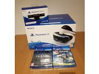 PlayStation VR headset plus camera and two games Skyrim VR and RIGS brand new still sealed