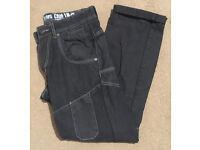 Men's black jeans with white detail - size 30 regular