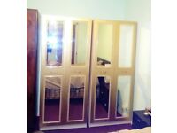 Shabby chic baroque vintage gold french ornate 4 door mirrored upcycled wardrobe