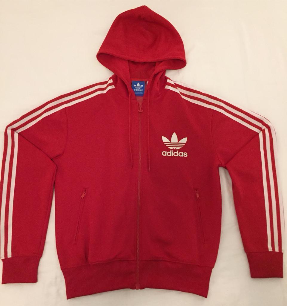 cb187c327326 Adidas Red Hoody 3 Stripes - Medium size