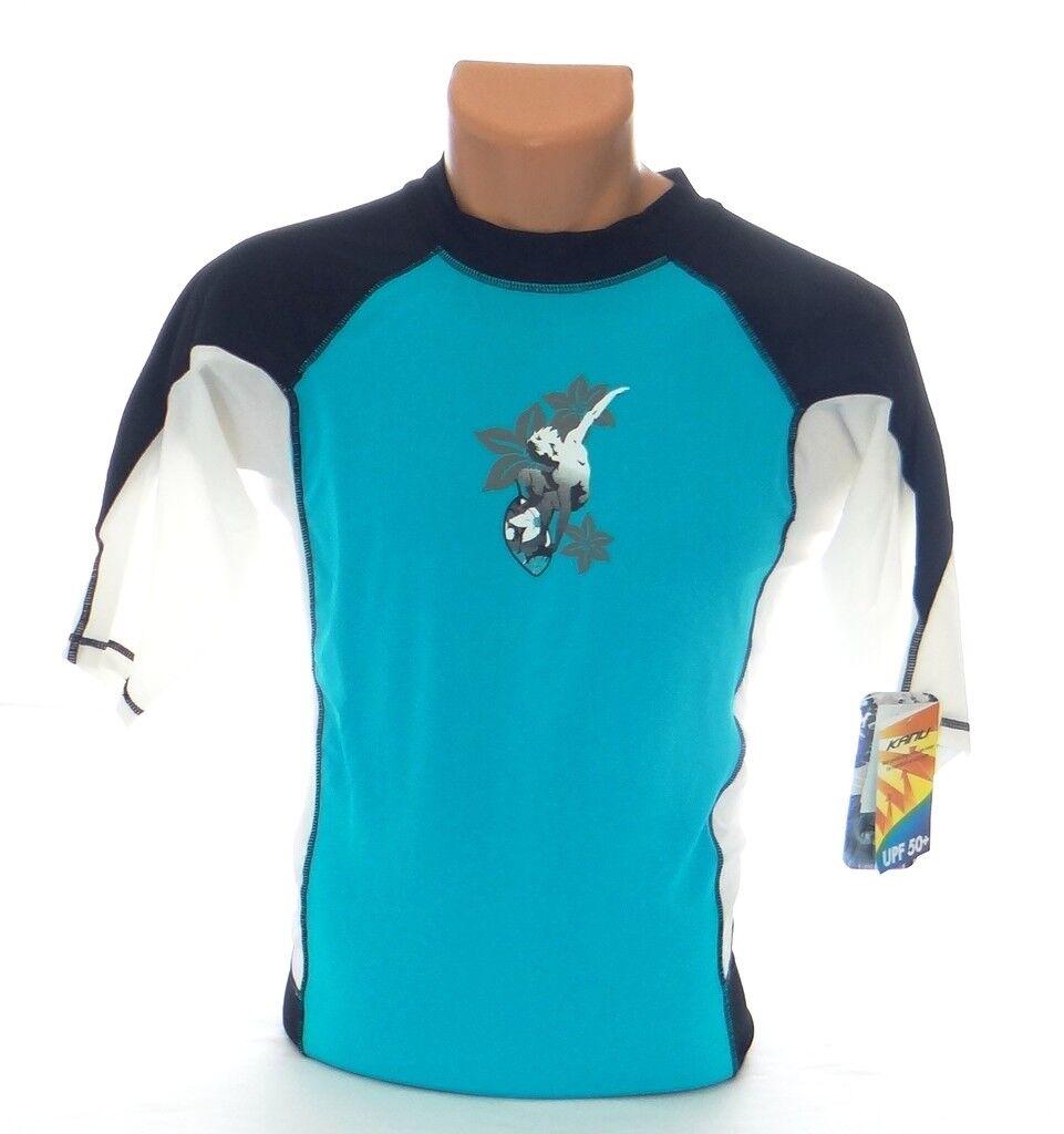 Kanu Surf Blue & White Short Sleeve Rash Guard Surf Shirt Me