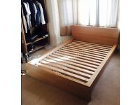 IKEA Malm wooden double bed frame in Oak colour