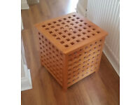 "18"" Cube Wooden Basket with Hinged Lid - Excellent Condition."