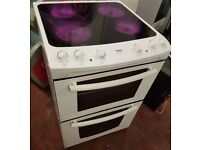 Zanussi ZKC6020W Electric Double Oven Cooker, with ceramic top, 60 cm width