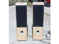 ELTAX CONCEPT 180 HIFI FLOOR STANDING TOWER SPEAKERS finished in TEAK GOOD USED CONDITION