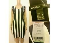 Women's MANGO Black White Striped Illusion Party Bodycon Dress Top size M RRP £44.99