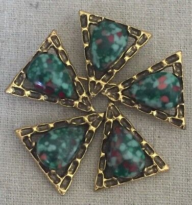 Huge Vintage EMMONS Polished Stone Brooch Pin 2""