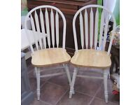 2 x PINE KITCHEN CHAIRS ANNIE SLOAN PAINT SHABBY CHIC STYLE