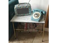 Vintage Side Table Magazine Rack/Record Player Table with Vinyl Storage