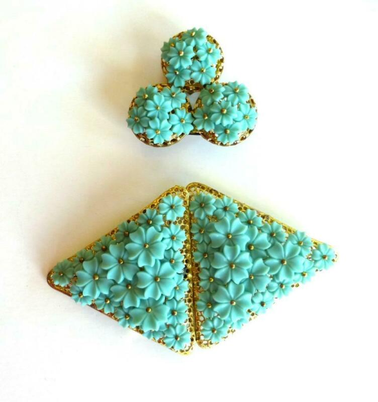 Unsigned MIRIAM HASKELL/FRANK HESS Turquoise Flowers Belt Buckle & Dress Clip