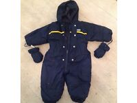 Baby boys M&S navy snowsuit with gloves. Age 6-12 months.