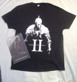 Dark Souls II T Shirt Black & Collectable Metal Wall Plaque: Go Beyond Death (Both New)