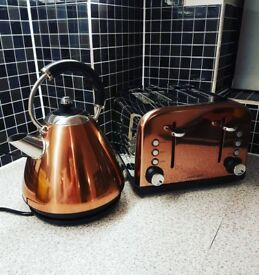 Matching Copper Toaster and Kettle