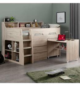 Wooden oak mid sleeper bed