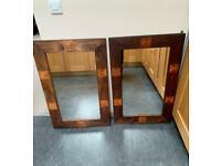 2 chunky wood wall mirrors