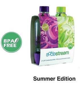 New Soda Stream 1 Litre Bottles Twin Pack BPA Free Summer Edition Sodastream