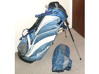 Blue & white Mizuno WMS Series carry stand golf bag VGC with rainhood Harness type strap