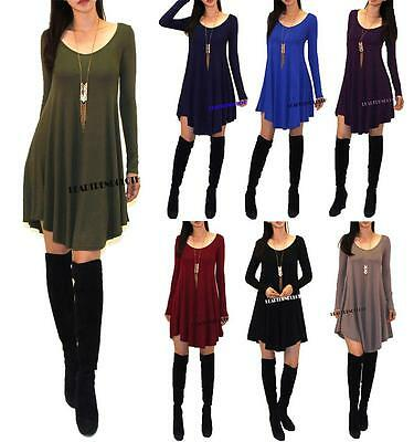 Usa Made Womens New Swing Long Sleeve Casual Loose T Shirt Dress S M L
