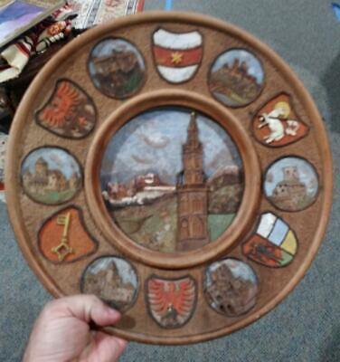 Hand Carved Wood Wooden Carving Souvenir Plate Poland Castle Crest Antique Art