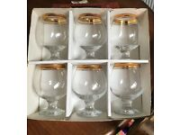 Set of six brandy glasses
