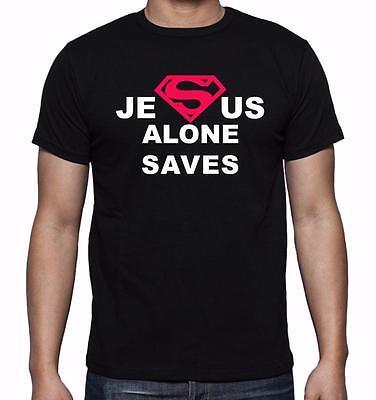 MEN PRINTED JESUS ALONE SAVES CHRISTIAN THEME LOVE GOD BIBLE CROSS TEE T-Shirt