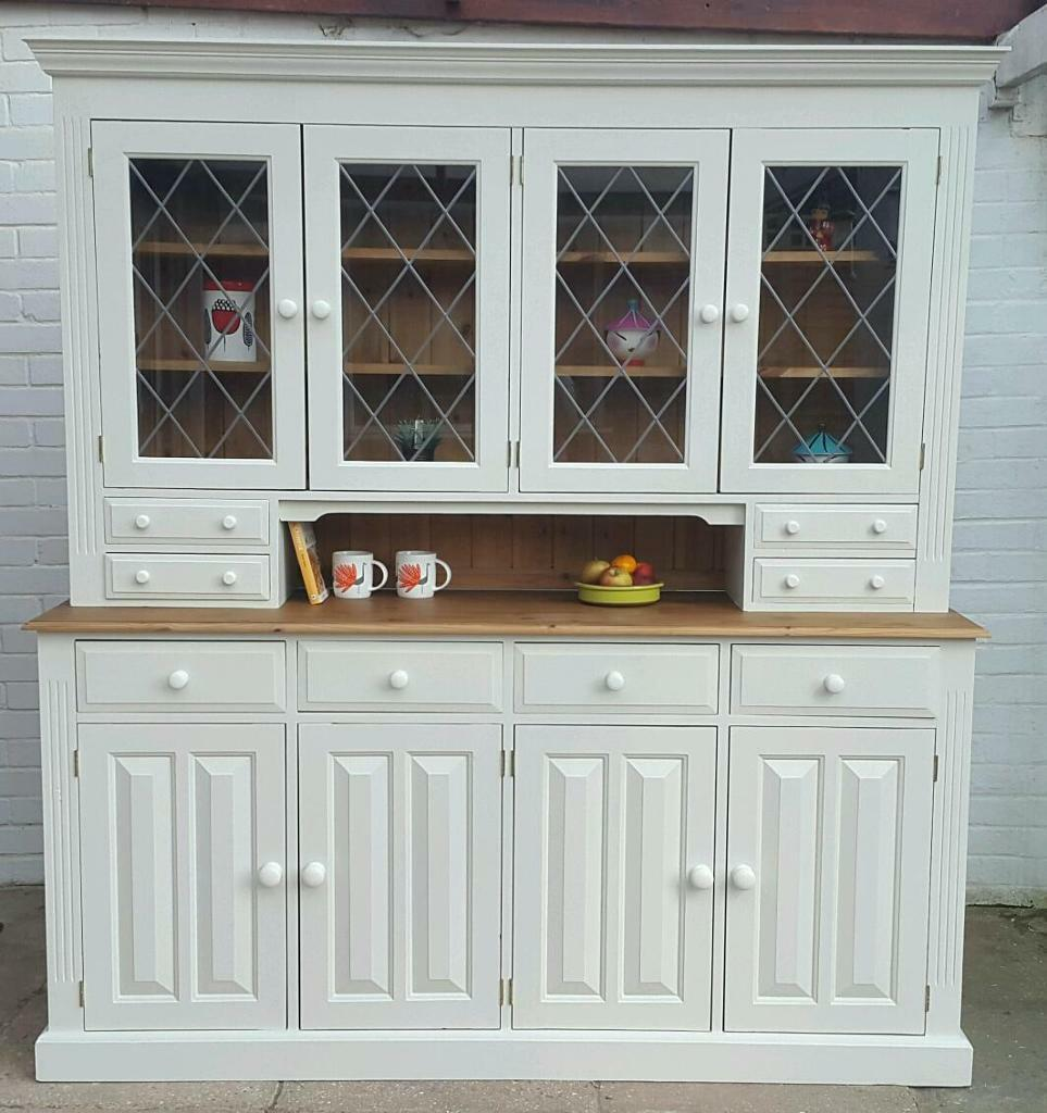 Painted solid pine welsh dresser sideboard with glass doors shabby painted solid pine welsh dresser sideboard with glass doors shabby chic fb off white with 8 planetlyrics Gallery