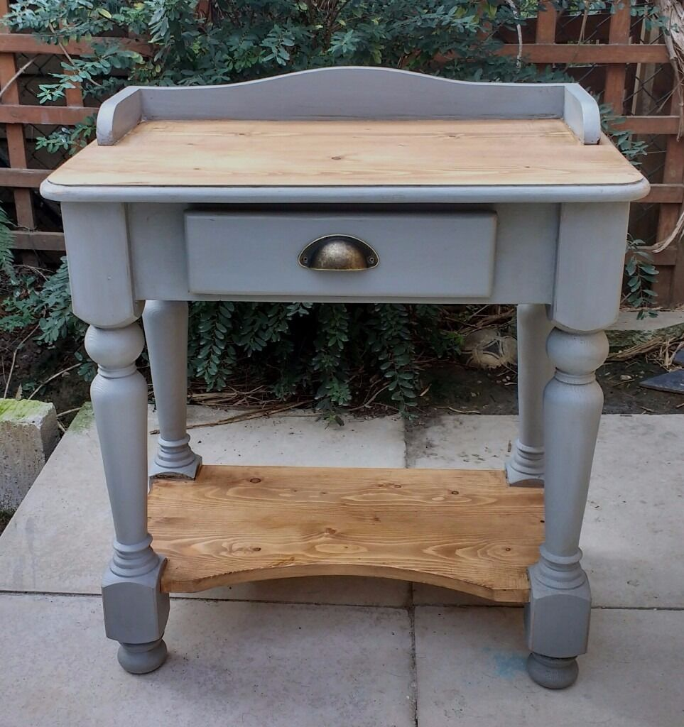 Shabby chic pine console table/desk with drawer