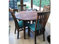 Solid birch round dining table and 4 chairs