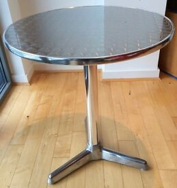 Round Cafe / Bistro Dining Table (Silver) - outdoor or indoor use