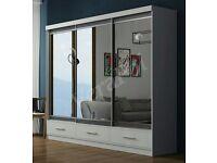💗💖MARGO WARDROBE WITH 3 DRAWERS💗💖Full Mirror Sliding Door Wardrobe / Shelves, Hanging💗💖