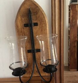 Attractive Solid Oak,Metal, Glass Wall candle holder, ex condition,I have used battery candles,
