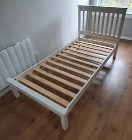 Single Bed Frame - Wooden in White