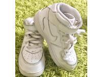 Kids' Nike Air Force 1 Hi-Top White Trainers Unisex UK Size 10/ EU Size 27.5