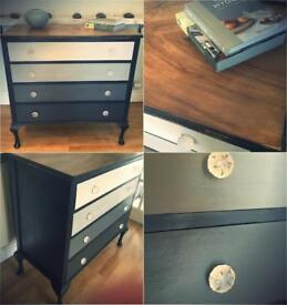 Stunning Vintage walnut painted 4 drawer chest of drawers