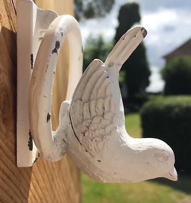 Shabby Chic Cream Bird Door Knocker, Cast Iron, Vintage French Farmhouse Style