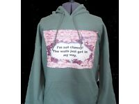 Clumsy Green Unisex Hoodie Small, Medium and Large