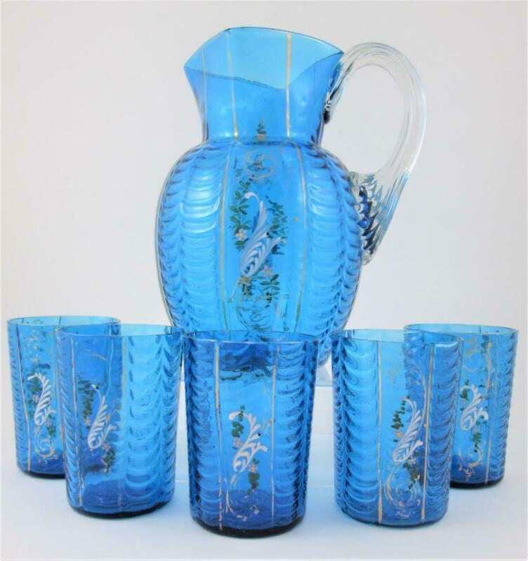 PHOENIX DRAPE - Antique 6pc PEACOCK BLUE art glass Water LEMONADE Set SQUARE Top